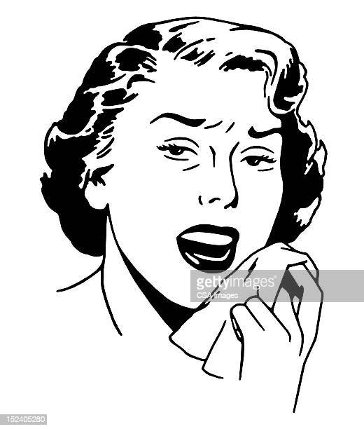woman sneezing - sneezing stock illustrations, clip art, cartoons, & icons