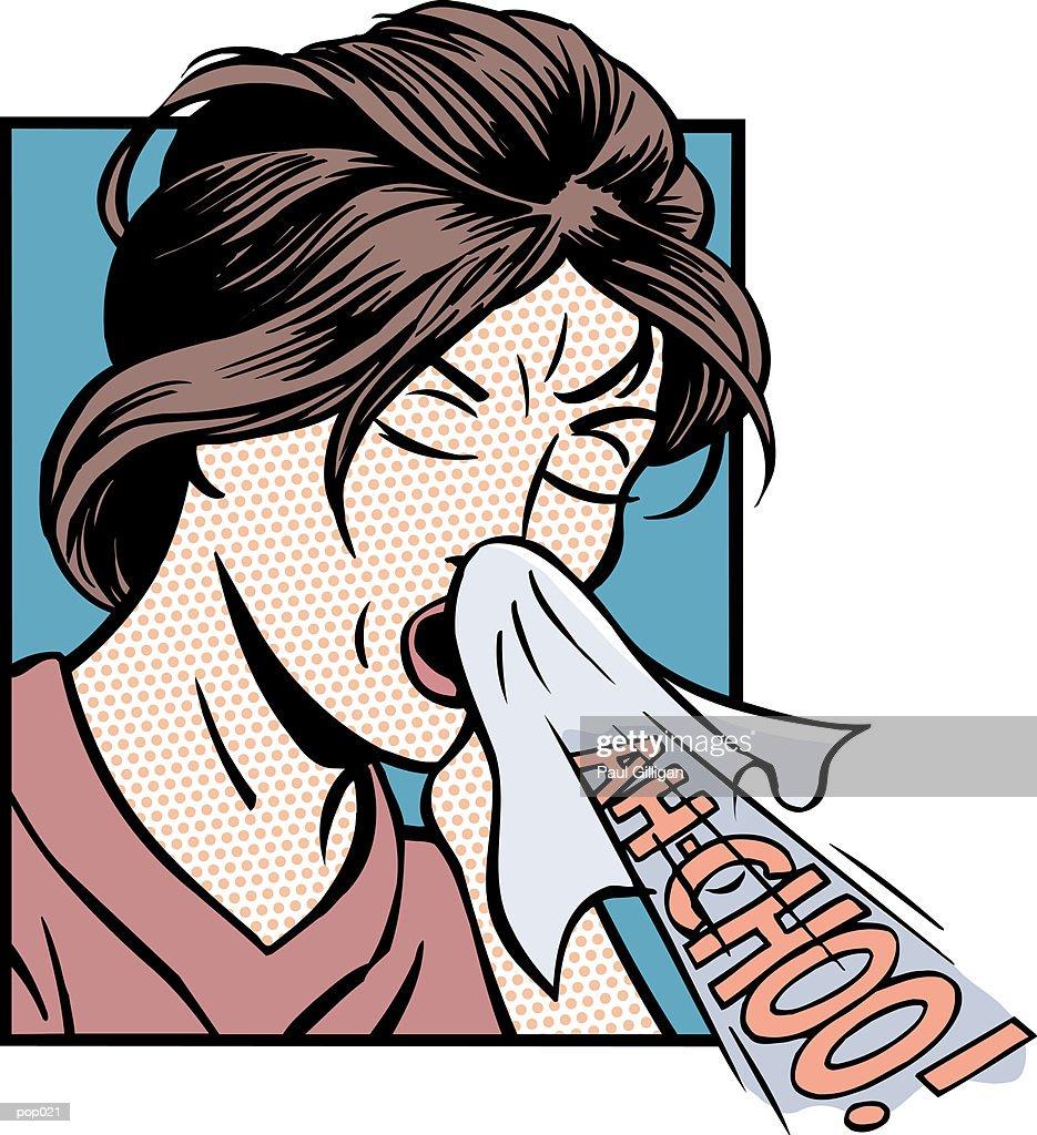Woman Sneezing : Stockillustraties