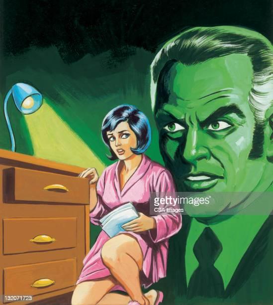 frau snoops; hört green ghost - dreiviertelansicht stock-grafiken, -clipart, -cartoons und -symbole