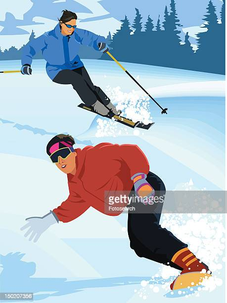 a woman snowboarding and a woman skiing together - ski goggles stock illustrations, clip art, cartoons, & icons