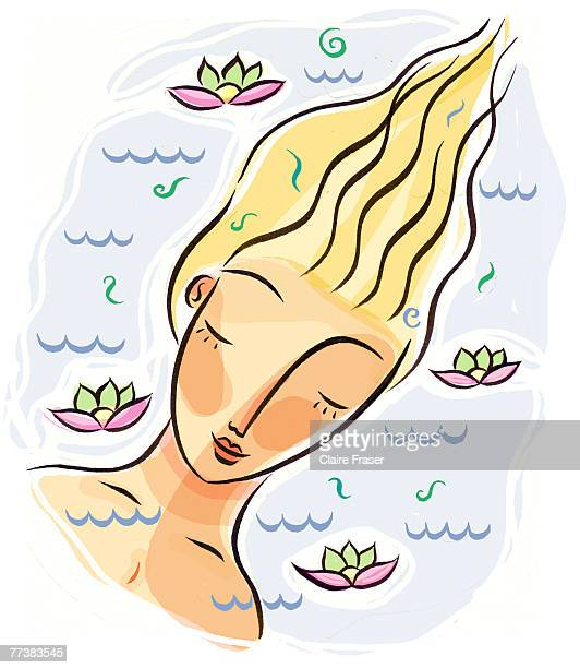 A woman soaking in a floral bath