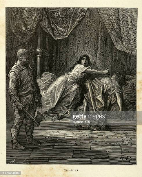 woman stabbing man with a dagger, orlando furioso - murder victim stock illustrations