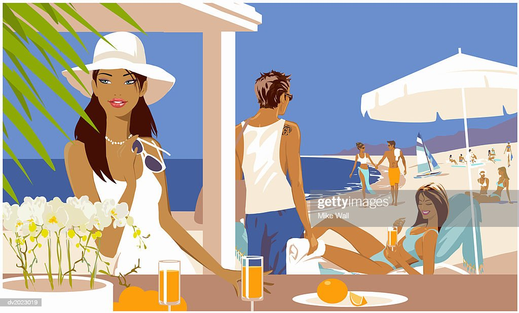 Woman Standing at a bar Counter Holding Her Sunglasses, People on the Beach in the Background : Stock Illustration