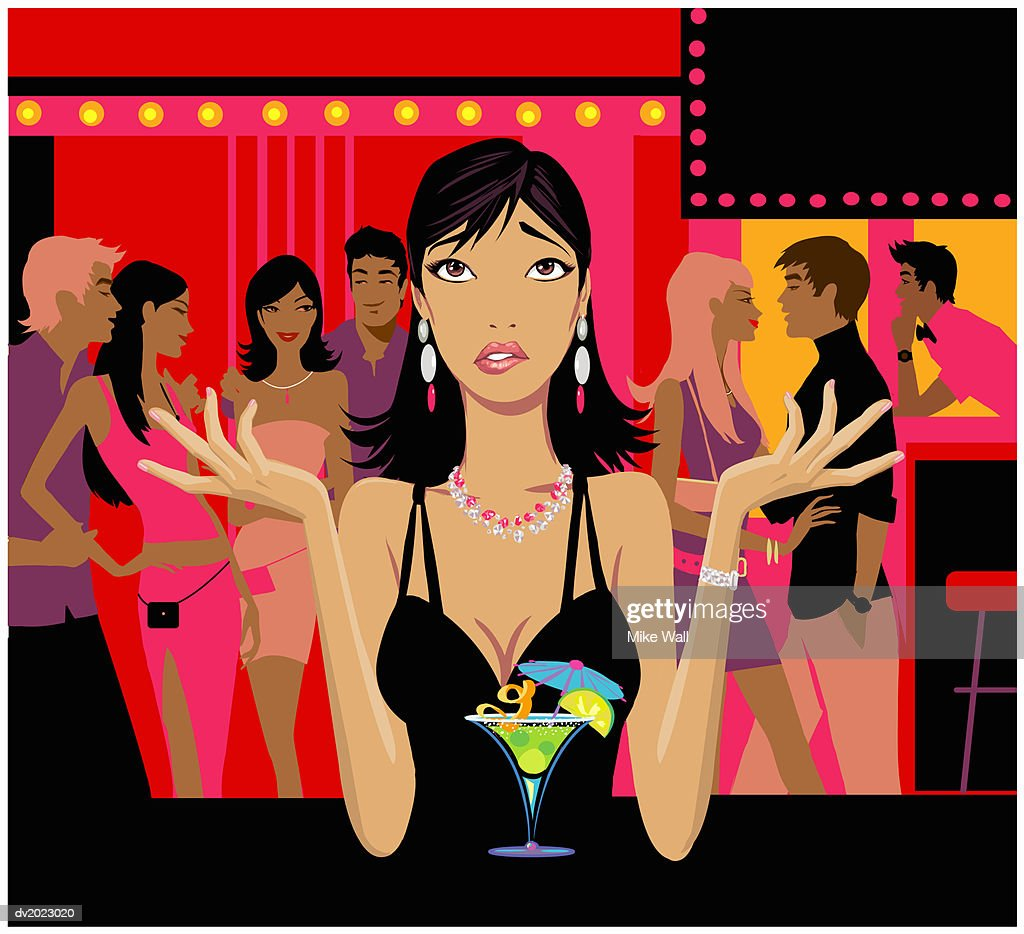 Woman Standing at a Bar With Looking Up With Her Arms Out, Couples Standing in the Background : Stock Illustration
