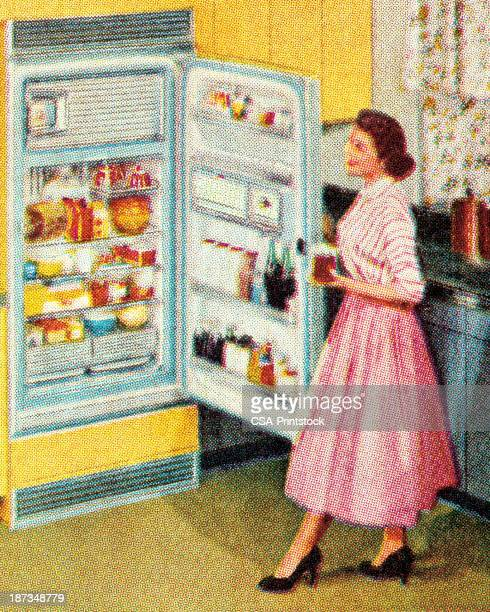 woman standing at open refrigerator - stay at home mother stock illustrations, clip art, cartoons, & icons