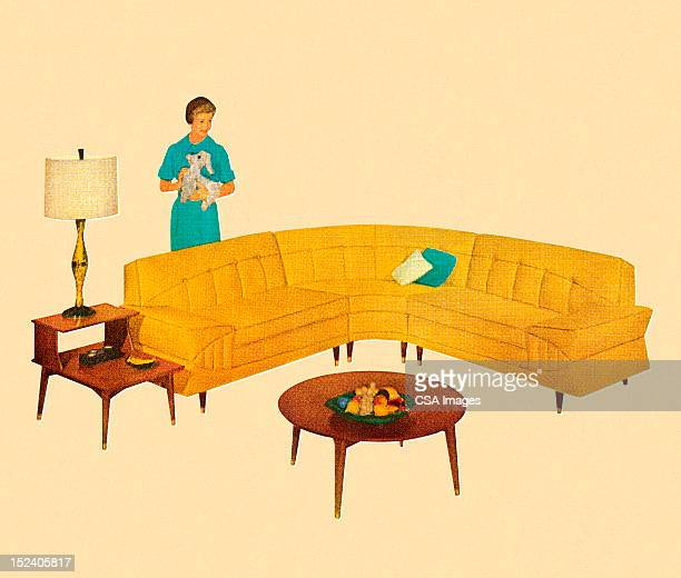 woman standing behind curved yellow couch - one mid adult woman only stock illustrations