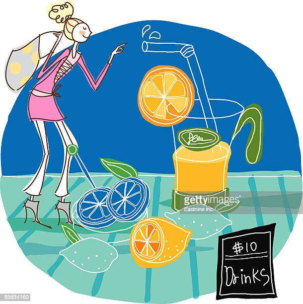 woman standing by glass of orange juice - orangensaft stock-grafiken, -clipart, -cartoons und -symbole