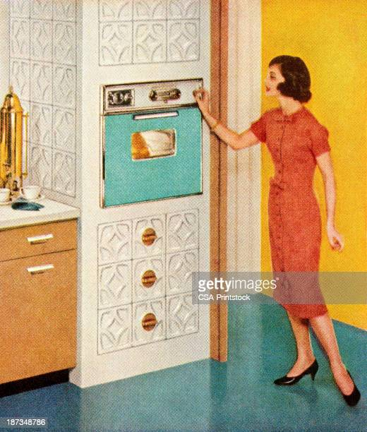 Woman Standing By Turquoise Oven