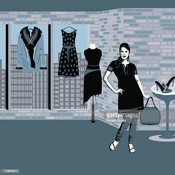 woman standing in a boutique - sac stock illustrations, clip art, cartoons, & icons