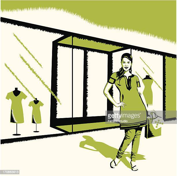 woman standing in front of a showroom - sac stock illustrations, clip art, cartoons, & icons