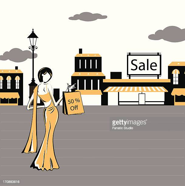 Woman standing in front of a store