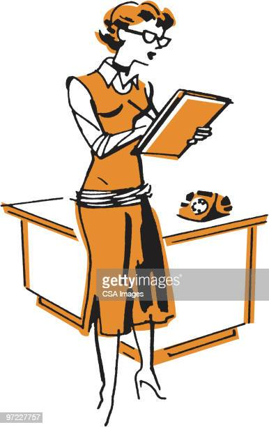 woman standing in front of desk - writing stock illustrations