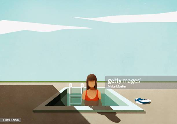woman standing in small swimming pool - front view stock illustrations