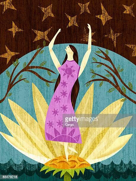 ilustrações, clipart, desenhos animados e ícones de a woman standing in the middle of a flower,   full length - organismo aquático