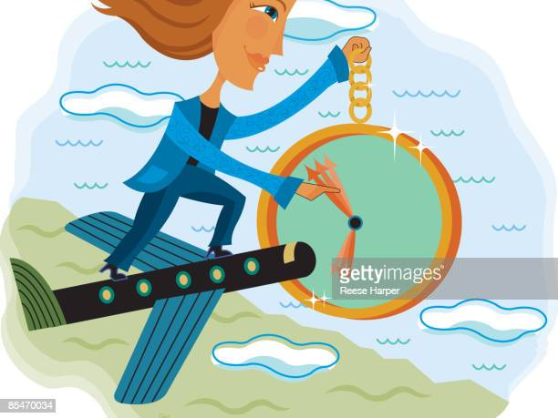A woman standing on a flying airplane holding a clock