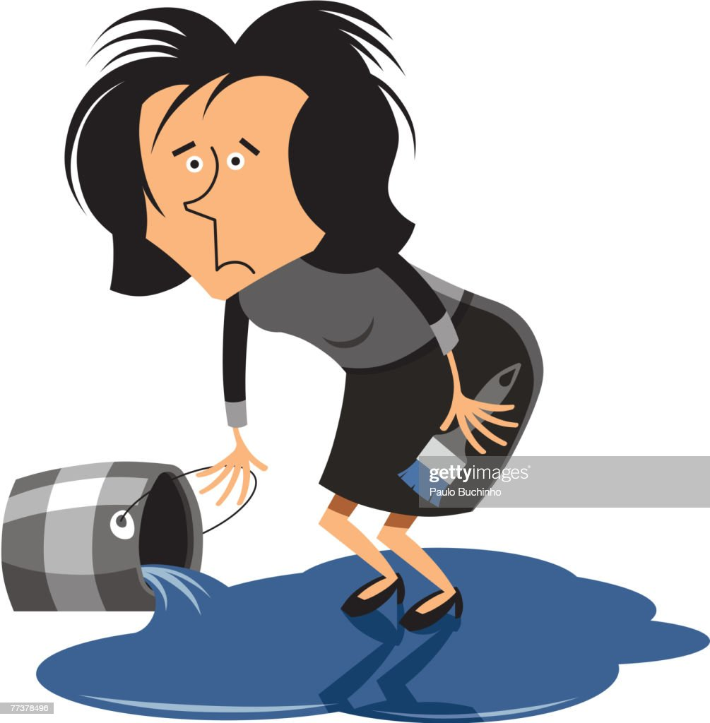 A woman standing on a pool of spilled paint : Illustration