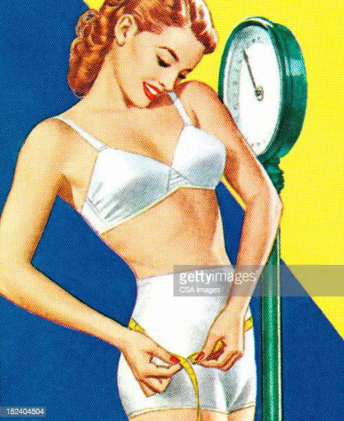 woman standing on a scale - dieting stock illustrations, clip art, cartoons, & icons