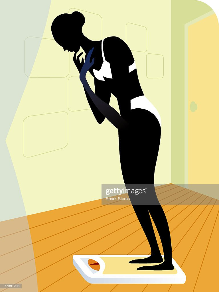 A woman standing on a weighing scale : stock illustration