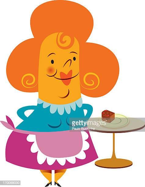 ilustrações de stock, clip art, desenhos animados e ícones de a woman standing with chocolate cake in the background - buchinho