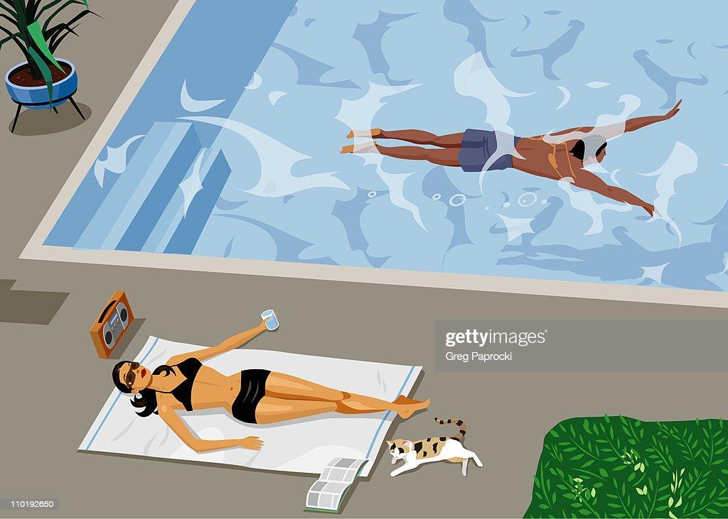 Woman sunbathing beside swimming pool : stock illustration