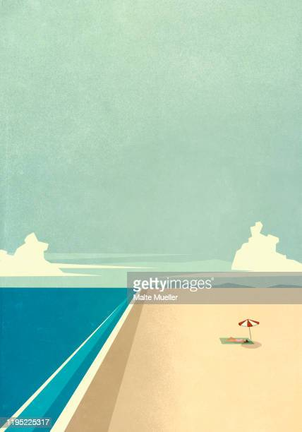 woman sunbathing under umbrella on remote ocean beach - carefree stock illustrations