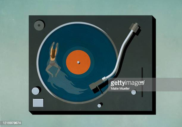 woman swimming in vinyl record player - rear view stock illustrations