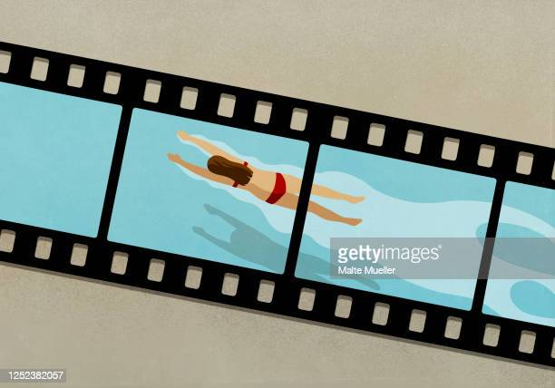 woman swimming in water on film negative - leisure activity stock illustrations