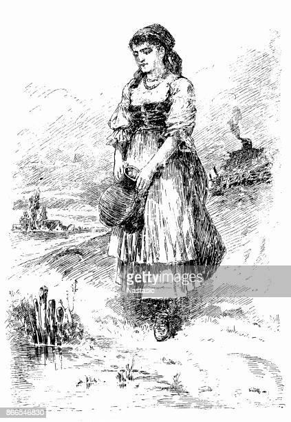 Woman taking Fresh Spring Water
