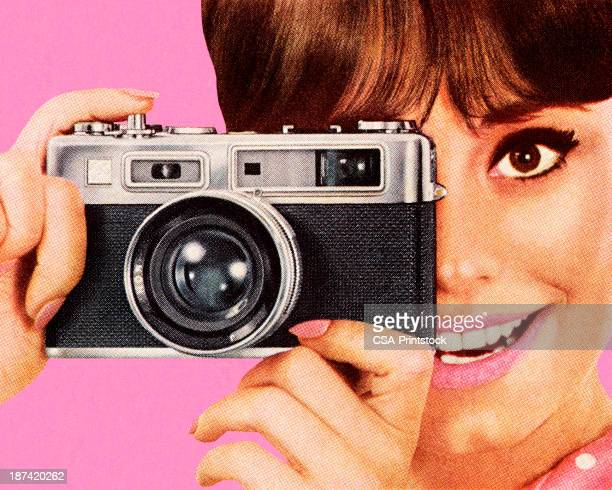 woman taking picture with camera - retro style stock illustrations