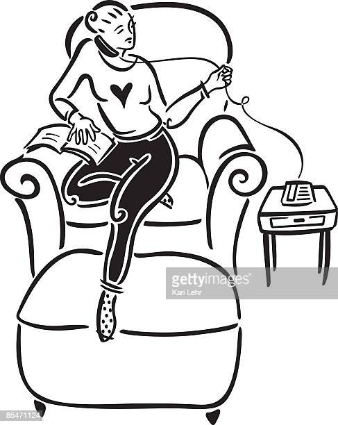 a woman talking on the phone - phone cord stock illustrations, clip art, cartoons, & icons