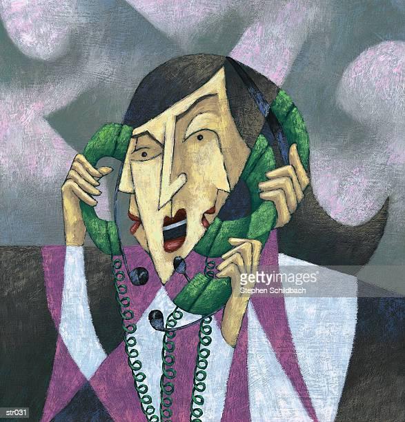 woman talking on three phones - stehen stock illustrations