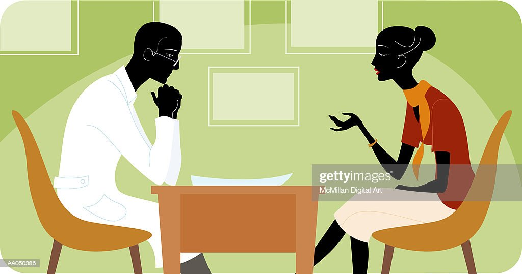 Woman talking to therapist, side view : Stock Illustration