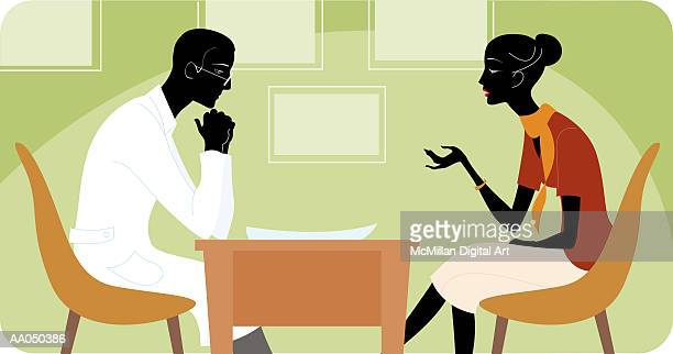 Woman talking to therapist, side view