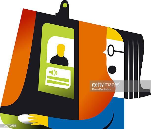 ilustrações de stock, clip art, desenhos animados e ícones de a woman talking with a friend through a computer program - buchinho