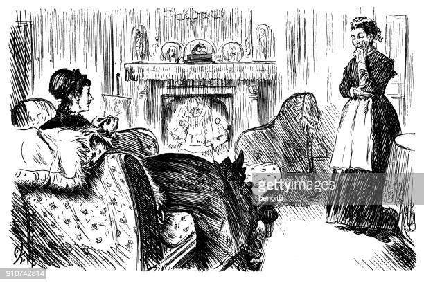 woman talking with her maid - maid stock illustrations, clip art, cartoons, & icons