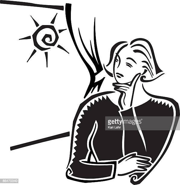 ilustraciones, imágenes clip art, dibujos animados e iconos de stock de a woman thinking and looking out the window - mujeres de mediana edad