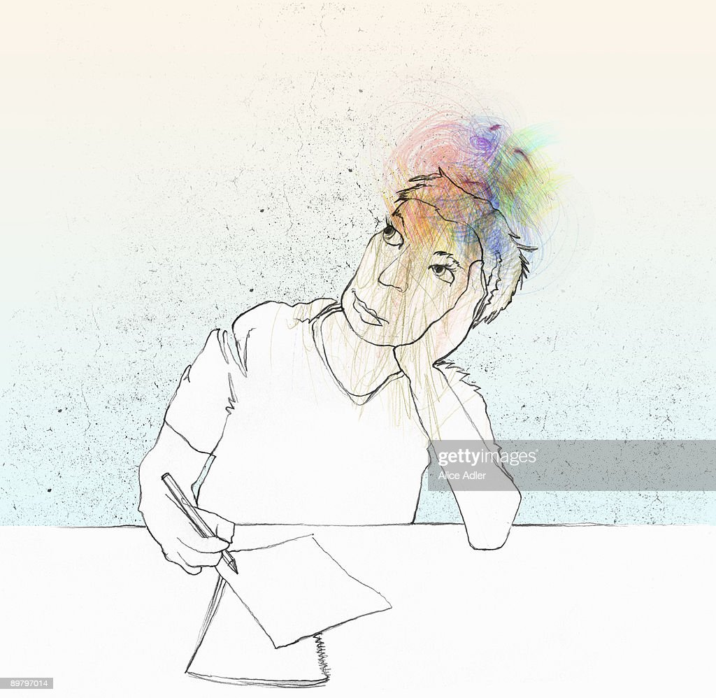 A woman thinking : stock illustration