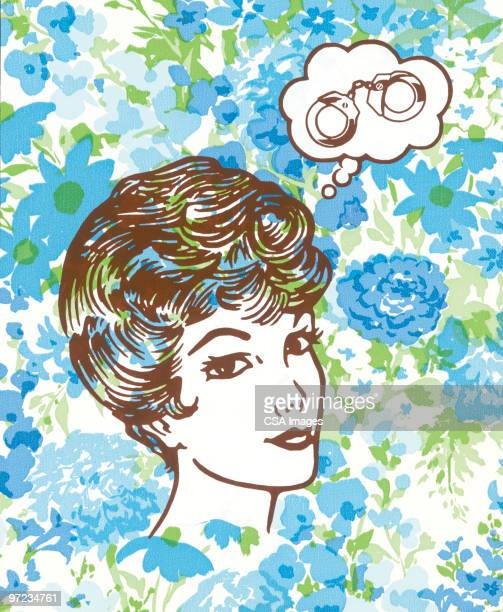 woman thinking of handcuffs - thought bubble stock illustrations