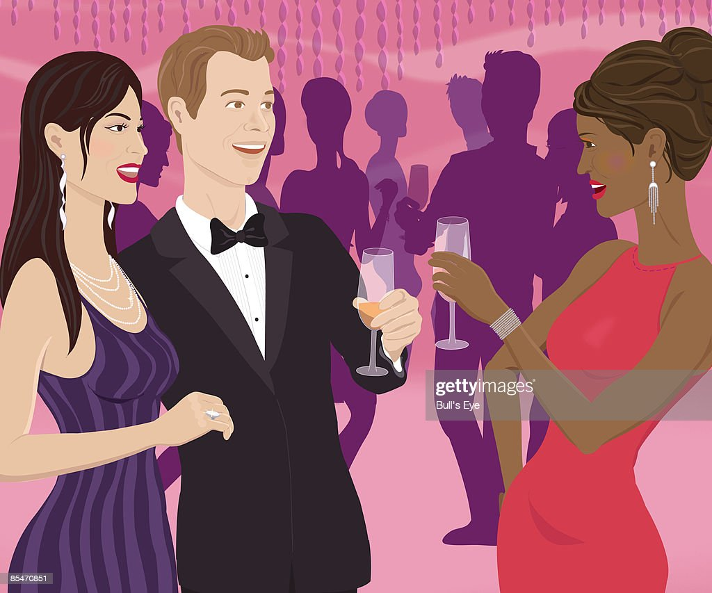 A woman toasting a couple at a party : Stock Illustration