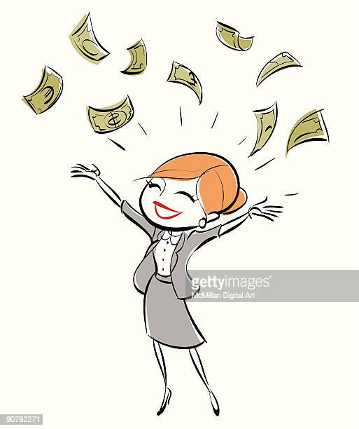 woman tossing dollar bills in air - european union euro note stock illustrations, clip art, cartoons, & icons