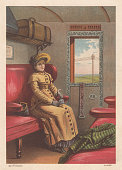 woman traveling train nostalgic scene from