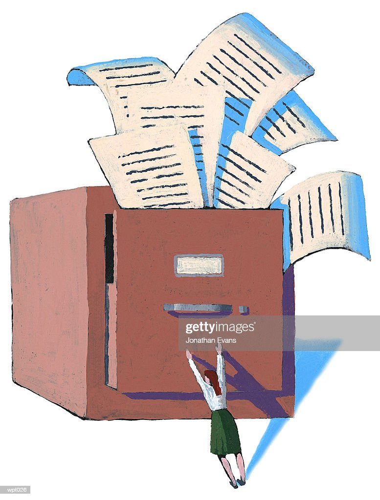Woman Trying to Control Files : Illustration