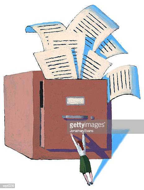 woman trying to control files - fileira stock illustrations