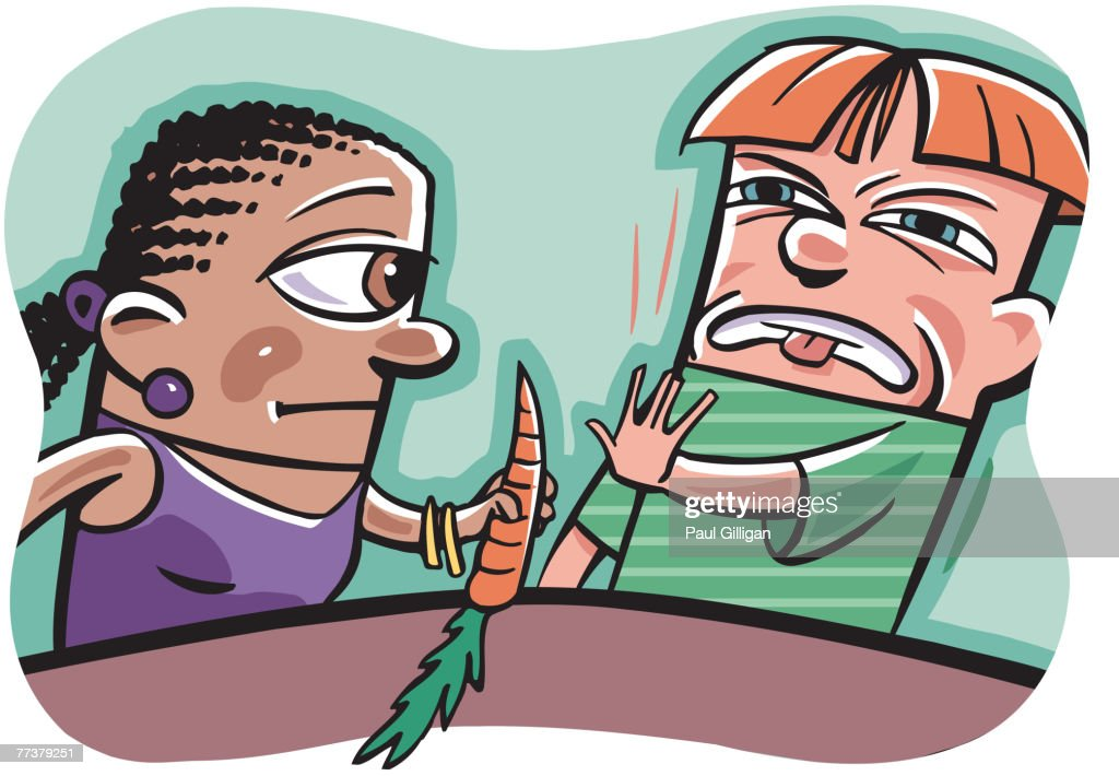 A woman trying to get a boy to eat a carrot : Illustration