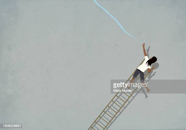 woman trying to paint blue line on falling ladder - opportunity stock illustrations