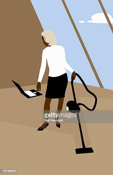 a woman using a laptop whilst vacuuming - stay at home mother stock illustrations, clip art, cartoons, & icons