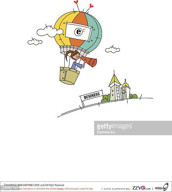 woman using a megaphone flying in a hot air balloon - spire stock illustrations, clip art, cartoons, & icons