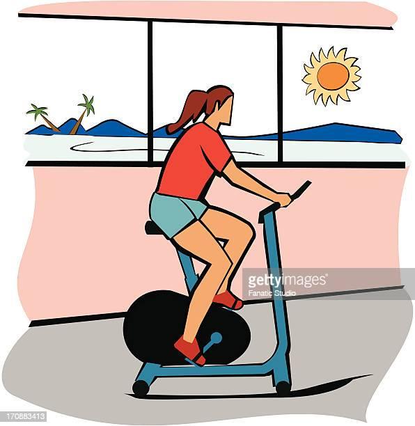 ilustraciones, imágenes clip art, dibujos animados e iconos de stock de woman using an exercise bike - educacion fisica
