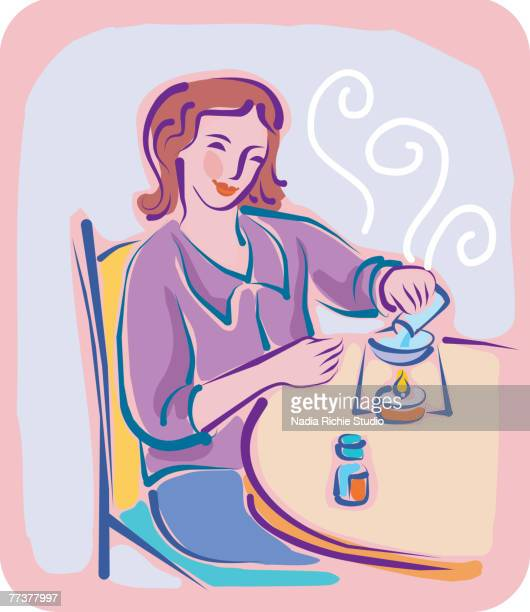 a woman using aromatherapy - aromatherapy stock illustrations, clip art, cartoons, & icons