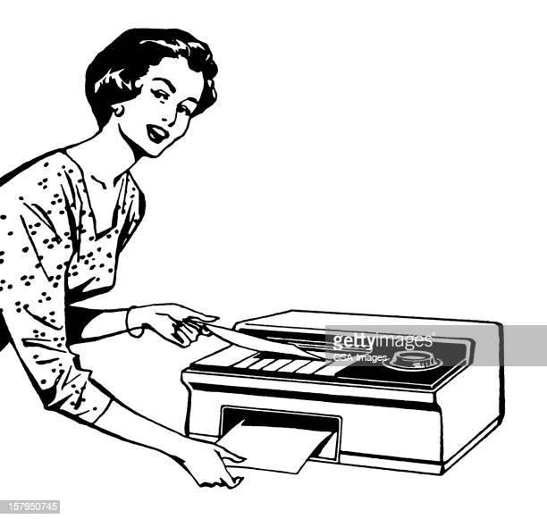 woman using fax - photocopier stock illustrations, clip art, cartoons, & icons